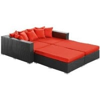 Palisades Outdoor 4 Piece Daybed Set with Cushions Finish: Espresso, Fabric: Red