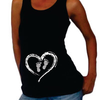 """Maternity """"Heart and Footprints"""" Tank top - Pregnancy clothes"""