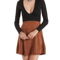 Black Combo Long Sleeve Ribbed & Faux Suede Dress by Charlotte Russe