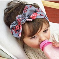 Kid Baby Girl Cotton Elastic Hairband Children Stretch Turban Flower Rabbit Headband Headwear Baby Hair Band Accessories