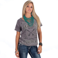 Women's Bornin USA Grey Burnout Oversized Tee