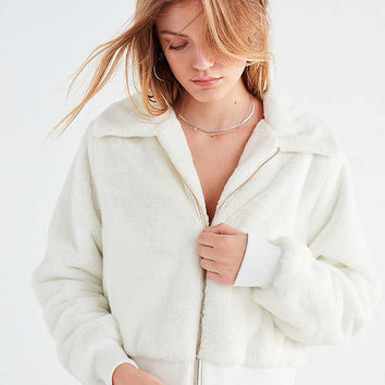 UO Callie Fuzzy Zip Jacket   Urban Outfitters