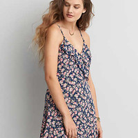 AEO Lace-Up Back Fit & Flare Dress, Blue