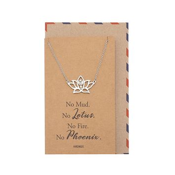 Dacey Yoga Necklace with Lotus Flower and Phoenix Symbol, Gifts for Women