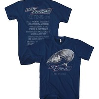 Led Zeppelin Blimp US Tour 1977 T-shirt - Navy (Medium)