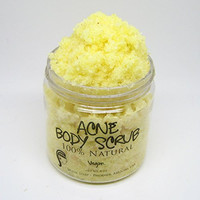 Acne Body Scrub 4 oz (Vegan, 100% Natural, Organic, Essential Oils) Best Exfoliating Scrub for Acne & Pimple Prone Skin with Turmeric and Neem