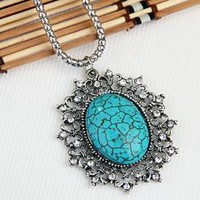 """Tibet Silver Rhinestone Turquoise Pendant Necklace Chain Chic 2x1.8"""" free shipping"""