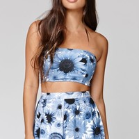 Motel Rocks Bessie Bandeau Cropped Top - Womens Tees - Blue