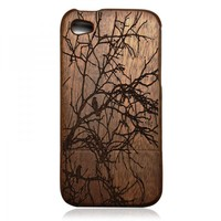 Wood Case for iPhone 4 / 4s - Hand Carved Tree