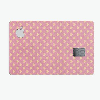 Golden Micro Hearts Over Pink - Premium Protective Decal Skin-Kit for the Apple Credit Card