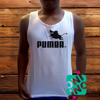 Pumba Men's White Cotton Solid Tank Top