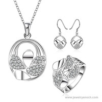 Exquisite White Gemstone Silver Plating Mixed Styles Top Ten Selling Jewelry Set