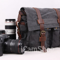 DSLR Camera Bag Canvas Messenger Bag Canvas Camera Bag Photography Bag Shoulder Bag Crossbody Bag In Dark Gray 2138K