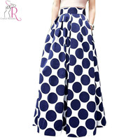 Spring Autumn Navy Blue High Waist Polka Dots Print Pleated Maxi Skirt Fall Contrast Casual A Line Skater 2016 Women Clothing