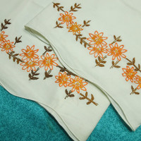 Vintage set of 2 White Pillowcase with orange and brown embroidered flowers for autumn, thanksgiving, fall, bedding by MarlenesAttic