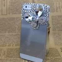 iphone 5 or   4s case Transparent cover  Bow  Diamonds case  iphone 5 cases for iphone 4 case