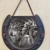 Rustic Horseshoe Wall Hanging with Wolf and Native American Chief Image, Perfectly Aged Patina, Leather Lace Accent, Good Luck Western Decor