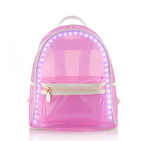 2017 new women backpack summer led backpack flash light transparent beach bag waterproof high quality woman travel bags