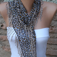 Leopard Scarf - Headband Necklace Cowl with Lace Edge