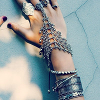 Bohemian Silver Floral Design Boho Bracelet Statement Tribal Chic Turkish Gypsy Jewelry for Women (Color: Silver) [7651901318]