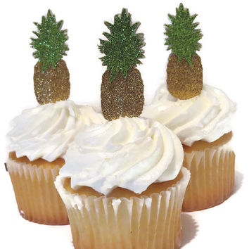 Pineapple cupcake toppers, luau party supplies, 12 pack, ships in 3-5 business days, tropical bridal shower