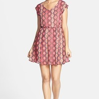 dee elle Ikat Print Cap Sleeve Skater Dress (Juniors) (Online Only)