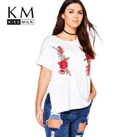 Kissmilk 2017 Big Size New Fashion Women Clothing Casual Flower Embroidery Basic T-shirt O-Neck Plus Size T-shirt 4XL 5XL 6XL