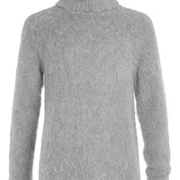 LUX Grey Chunky Turtle Neck Sweater with Zips