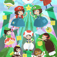 Super Mario Sisters World 8x12 video game inspired art print
