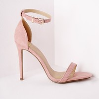 Missguided - Barely There Strappy Heeled Sandals Rose