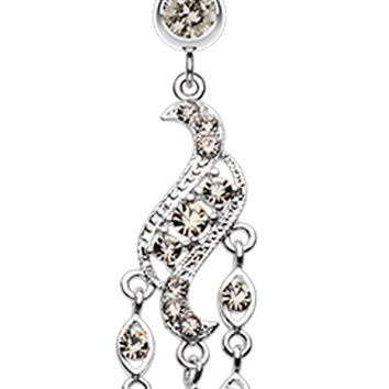 Sparkle Wave Drops Belly Button Ring