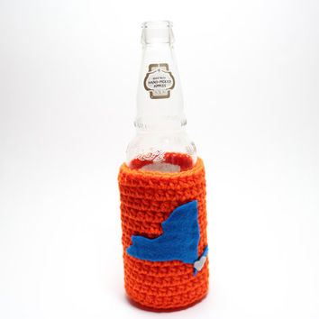 New York Beer Bottle Koozie, State Accessories, Crochet Can Cozy, Coffee Cozy, Koozie, Orange & Blue Mets Inspired Travel Drink Holder