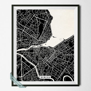 Geneva Street Map Print, Switzerland Poster, Geneva Poster, Switzerland Print, Office Decor, Dorm Decoration, Wall Decor, Back To School