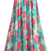 ROMWE Floral Print Elastic Pleated Skirt
