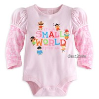 Licensed cool It's A Small World Cuddly 1 Piece Bodysuit for Baby Pink and White Disney Store