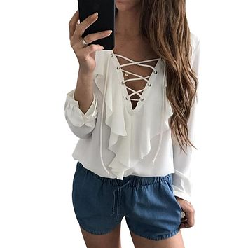 Neck Strapped Long Sleeve White Blouse Casual Ladies Tops Shirt