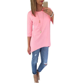 Casual  3/4 sleeve long shirt