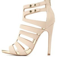 Strappy Caged Heels by Charlotte Russe - Nude