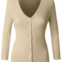 LE3NO Womens Fitted 3/4 Sleeve V Neck Fine Knit Cardigan