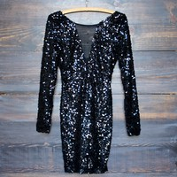 dazzling black sequin dress