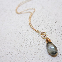 Wire Wrapped Moss Aquamarine Necklace 14K Gold Filled Necklace Dainty Necklace March Birthstone