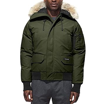 Chilliwack Down Bomber Jacket with Genuine Coyote Fur Trim Military Green