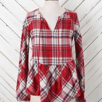 Altar'd State Plaid Pasture Ruffle Top | Altar'd State