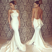 White Backless Bodycon Fishtail Long Gown