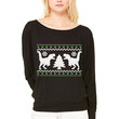 Funny Ugly Christmas T-Rex Sweater WOMEN'S FLOWY LONG SLEEVE OFF SHOULDER TEE