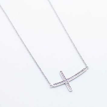 Curved cross sterling silver necklace