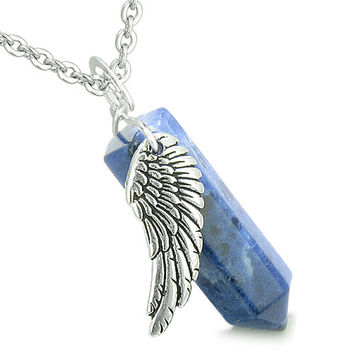 Angel Wing Archangel Gabriel Magic Wand Crystal Point Sodalite Pendant 22 Inch Necklace