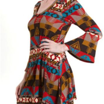 Emma Rose Bell Sleeve Autumn Tribal Dress 20318