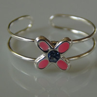 Sterling Silver 925 Hot Pink Flower Toe Ring - Adjustable