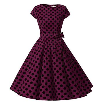 1950s Inspired Retro Rockabilly Cap-Sleeve Dress, Violet with Large Black Polka Dots, Sizes XS - 3XL